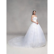 cheap Ball Gown Wedding Dresses-Ball Gown Sweetheart Cathedral Train Tulle Over Lace Custom Wedding Dresses with Bowknot Beading Sequin Appliques by LAN TING BRIDE®