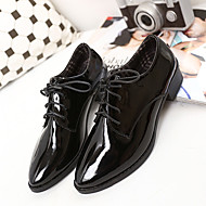 """נשים נעלי אוקספורד נוחות דמוי עור סתיו קזו'אל נוחות שחור בורדו ס""""מ 2.54 - ס""""מ 4.45"""