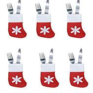 6本のクリスマスの靴下のカトラリートレイ小さな靴下の誕生デコレーションを設定する