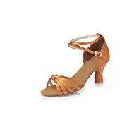 billige Sko til latindans-Dame Latin Sateng Høye hæler Innendørs Sløyfe Tykk hæl Svart Mørkebrun 6,5 cm Kan ikke spesialtilpasses