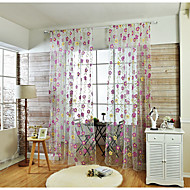 Et panel Window Treatment Rustikk , Blomsternål i krystall Stue Lin/ Polyester Blanding Materiale Sheer Gardiner Shades Hjem Dekor For