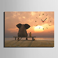 E-HOME® Elephants Watching the Sunset Clock in Canvas 1pcs High Quality