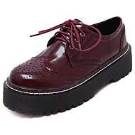 Dames Oxfords Lente / Herfst Comfortabel PU Informeel Hak Veters Zwart / Bordeaux Others