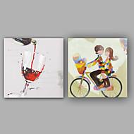 מצויר ביד מופשט / אנשים ציורי שמן,קלאסי / מודרני פנל אחד בד ציור שמן צבוע-Hang For קישוט הבית