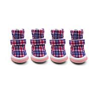 Cachorro Sapatos e Botas Mantenha Quente Fashion Botas de Neve Xadrez Vermelho Azul Rosa claro Para animais de estimação