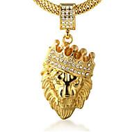 voordelige Sieraden-Heren Kroonvorm Leeuw Dier Vorm Gepersonaliseerde Rock Hangertjes ketting Bergkristal Goud 18K goud Gesimuleerde diamant Legering