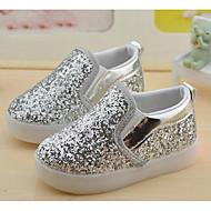 tanie Obuwie dziewczęce-Dla dziewczynek Buty PU Brokat Comfort Mokasyny i pantofle na Casual White Black Silver Różowy