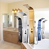 現代風 シャワーパネル ハンドシャワーは含まれている with  セラミックバルブ シングルハンドル二つの穴 for  クロム , シャワー水栓
