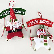 ホリデー・デコレーション クリスマスデコレーション クリスマス花輪 おもちゃ サンタスーツ 雪だるま 3D ウッド 2 小品 ギフト