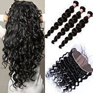 Silk Base Frontal With Bundles Peruvian Hair Weave Loose Wave 4Pcs 6A Peruvian 13x4 Lace Frontal Closure With Bundles