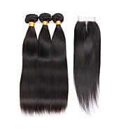 7A Indian Human Virgin Hair Straight 4*4 Lace Closure With 3 Bundles Hair Weft