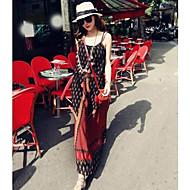 vintage alça estampa floral vestido longo das mulheres