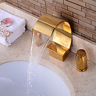 Contemporary Widespread Waterfall with  Ceramic Valve Two Handles Three Holes for  Ti-PVD , Bathtub Faucet