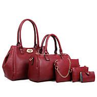 Damen Taschen Kuhfell Bag Set 5 Stück Geldbörse Set für Normal Ganzjährig Schwarz Fuchsia Blau Wein