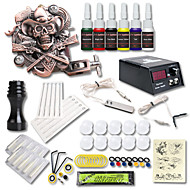 cheap Starter Tattoo Kits-Tattoo Machine Starter Kit - 1 pcs Tattoo Machines with 6 x 5 ml tattoo inks, Professional LCD power supply Case Not Included 1 cast iron machine liner & shader