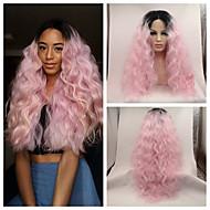 Naisten Synteettiset peruukit Lace Front Pitkä perverssi Pinkki Tummat juuret Luonnollinen hiusviiva Liukuvärjätyt hiukset Keskijakaus