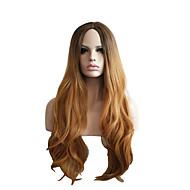 Femme Perruque Synthétique Long Bouclé Cheveux Colorés Avec Frange Perruque Naturelle Perruque Déguisement