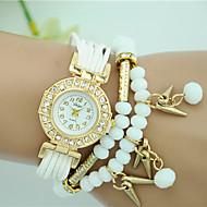 billige Quartz-Dame Quartz Armbåndsur Hot Salg Stof Bånd Perler Mode Sort Hvid Blåt Rød Brun Rose