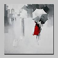 מצויר ביד אנשים נוף אבסטרקט מרובע,מודרני סגנון ארופאי פנל אחד בד ציור שמן צבוע-Hang For קישוט הבית
