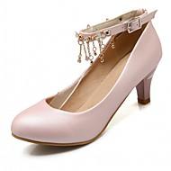 זול Small Size Shoes-נשים-עקבים-סינטתי קנבס דמוי עור PU-נוחות חדשני רצועה אחורית-לבן כחול ורוד-חתונה משרד ועבודה שמלה מסיבה וערב-עקב עבה