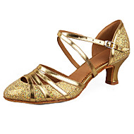 Women's Latin Salsa Paillette Leatherette Patent Leather Sandal Heel Practice Beginner Professional Indoor Performance Buckle Cuban Heel
