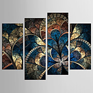 cheap Prints-Abstract Floral/Botanical Classic European Style, Four Panels Canvas Any Shape Print Wall Decor Home Decoration