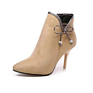 Women's Boots Comfort Combat Boots Leather Winter Casual Walking Comfort Combat Boots Bowknot Stiletto Heel Black Nude 2in-2 3/4in