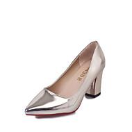 Feminino Saltos Conforto botas de desleixo Couro Ecológico Outono Inverno Casual Conforto botas de desleixo Salto BaixoDourado Prata Rosa
