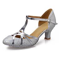 """billige Moderne sko-Dame Latin Paljett Kunstlær Lakklær Sandaler Innendørs Ytelse Profesjonell Nybegynner Trening Spenne Kubansk hæl Gull Sølv 2 """"- 2 3/4"""""""