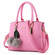 Women Bags All Seasons PU Tote Beading Fur for Formal Outdoor Office & Career Fuchsia Blue Pink Wine Lavender