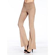 Femme Pour Bottes (Bootcut) Pantalon - Couleur Pleine Chameau / Sortie