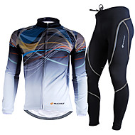 cheap -Nuckily Men's Long Sleeve Cycling Jersey with Tights Bike Clothing Suit Thermal / Warm Breathable 3D Pad Ultraviolet Resistant Winter Sports Polyester Fleece Gradient Mountain Bike MTB Road Bike