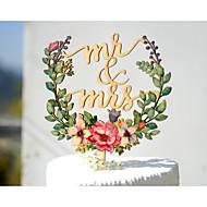 tårta topper trädgård tema blommigt tema klassiskt tema tema tema klassiskt par akryl / polyester bröllopsdag med # poly väska