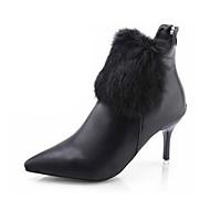 Damer Støvler Modestøvler PU Efterår Vinter Afslappet Formelt Modestøvler Stilethæl Hvid Sort Rød 2,5-4,5 cm