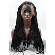 Naisten Synteettiset peruukit Lace Front Pitkä Laineikas Musta Luonnollinen hiusviiva Letitetty peruukki Afrikkalaiset letit Vauvantukalla
