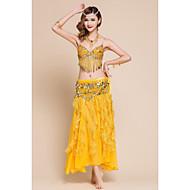 ชุดเต้นระบำหน้าท้อง Outfits สำหรับผู้หญิง Performance สแปนเด็กซ์ / ชิฟฟอน ไข่มุก / เลื่อม / จับย่น เสื้อไม่มีแขน ปรับตัวลดลง กระโปรง / ชุดชั้นใน / เอวเข็มขัด