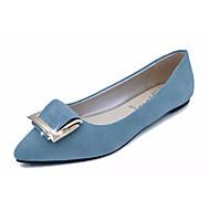 お買い得  レディースフラットシューズ-女性用 靴 PUレザー 春 夏 フラット フラットヒール ポインテッドトゥ のために カジュアル ブラック ブルー ピンク ライトブルー