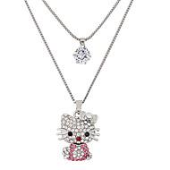 Žene Mačka Sa životinjama Oblik Slatka Style Moda Double-layer Ogrlice s privjeskom Umjetno drago kamenje Imitacija dijamanta Legura