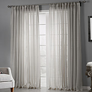 Rod Pocket Grommet Top Tab Top Double Pleat Two Panels Curtain Country , Print Solid Bedroom Polyester Material Sheer Curtains Shades