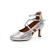 billige Moderne sko-Kan ikke spesialtilpasses-Dame-Dansesko-Latinamerikansk / Salsa-Kunstlær-Tykk hæl-Sølv / Gull