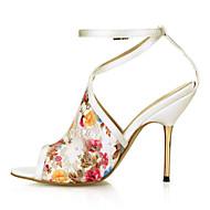 Kényelmes-Stiletto-Női cipő-Szandálok-Esküvői Ruha Party és Estélyi-Tüll-Elefántcsont