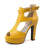 billige -60%-Dame Sko Kustomiserte materialer Kunstlær Vår Sommer Komfort Original Sandaler Tykk hæl Blokker hælen Titte Tå Spenne til Avslappet