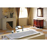 Contemporary Art Deco/Retro Modern Widespread Waterfall with  Ceramic Valve Single Handle Three Holes for  Chrome , Bathtub Faucet