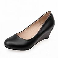 Mulheres Sapatos Sintético Couro Ecológico Primavera Verão Conforto Inovador Saltos Caminhada Salto Plataforma Ponta Redonda Poa para