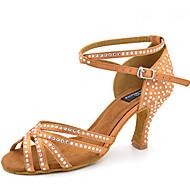 baratos Sapatilhas de Dança-Mulheres Latina Jazz Sapatos de Swing Salsa Courino Sandália Salto Interior Espetáculo Profissional Iniciante Ensaio/Prática Pedrarias