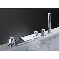 cheap Discount Faucets-Contemporary Art Deco/Retro Country Widespread Waterfall Ceramic Valve Three Handles Five Holes Chrome, Bathtub Faucet