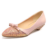 Women's Flats Spring Summer Fall PU Office & Career Dress Party & Evening Low Heel Bowknot Green Blushing Pink Almond