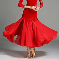 ボールルームダンス 女性用 ダンスパフォーマンス シフォン ベルベット ナチュラルウエスト スカート