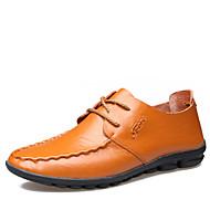 メンズ 靴 レザー 春 夏 秋 冬 ファッションブーツ モカシン オックスフォードシューズ 編み上げ 用途 カジュアル パーティー ブラック イエロー Brown