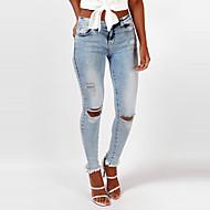 Feminino Skinny Jeans Calças-Cor Única Happy-Hour Férias Simples Moda de Rua rasgado Cintura Alta Zíper Poliéster Micro-ElásticoCom Molas